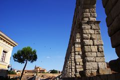 The Roman aqueduct of Segovia - the most important architectural landmark of Segovia. The Aqueduct of Segovia or more accurately, the aqueduct bridge is a Roman royalty free stock images