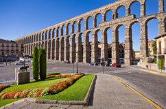 Roman Aqueduct in Segovia. Roman Aqueduct and the Plaza del Azoguejo. Segovia Spain royalty free stock photos