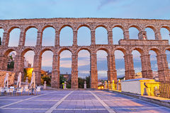 Roman aqueduct in Segovia, Spain. Ancient Roman aqueduct on Plaza del Azoguejo in Segovia, Spain royalty free stock photos