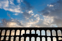 Roman Aqueduct of Segovia in Spain Royalty Free Stock Image