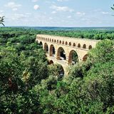Roman aqueduct. Stone aqueduct made by the Roman Empire in the Provence region of France. Pont du Gard Stock Photography
