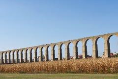 Roman aqueduct of Vila do Conde, Portugal royalty free stock photo