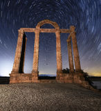 Roman arch. Antique architecture in the night Royalty Free Stock Photo