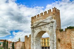 Roman Arch of Augustus. Arch of Augustus, an ancient Roman gateway to the city of Rimini in Italy Stock Images