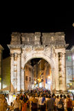 Roman arch in the center of Pula. In Croatia Royalty Free Stock Photo