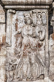 Roman Arch of Constantine Relief. The Arch of Constantine is a triumphal arch in Rome, situated between the Colosseum and the Palatine Hill Royalty Free Stock Photography