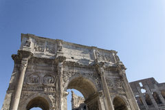 Roman Arch of Constantine in Rome. ROME, ITALY - SEPTEMBER 2016: Magnificent Arch of Constantine Royalty Free Stock Photo