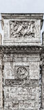 Roman Arch of Constantine Side Detail. The Arch of Constantine is a triumphal arch in Rome, situated between the Colosseum and the Palatine Hill Royalty Free Stock Image