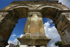 Roman arch. Germanic roman arch of the ville of Saintes in french charente maritime region Stock Photos
