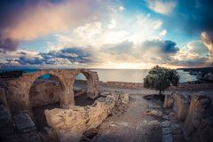 Roman arch at Kourion ruins. Limassol District, Limassol Royalty Free Stock Photography