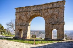 Roman arch of the Villa de Medinaceli stock images