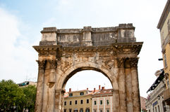 Roman arch monument in the city of Pula Royalty Free Stock Photos