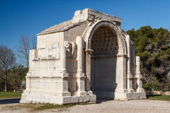 Roman arch in the ruins of the ancient Glanum Stock Photo