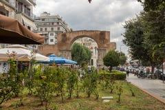 Roman Arch van Galerius in het centrum van stad van Thessaloniki, Centraal Macedonië, Griekenland stock fotografie