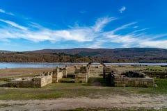 Roman archaeological complex Aquis Querquennis. Archaeological complex formed by a  camp and a road mansion, located in the parish of Baños de Bande, in stock photo