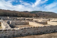 Roman archaeological complex Aquis Querquennis. Roman archaeological complex formed by a Roman camp and a road mansion, located in the parish of Baños de stock photography