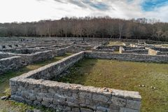 Roman archaeological complex Aquis Querquennis. Roman archaeological complex formed by a Roman camp and a road mansion, located in the parish of Baños de stock photo
