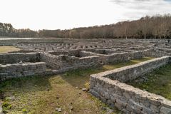 Roman archaeological complex Aquis Querquennis. Roman archaeological complex formed by a Roman camp and a road mansion, located in the parish of Baños de stock images
