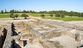 Roman archaeological remains. Next to outdoor Italica located in the Spanish province of Seville, is surrounded by fields and olive trees Royalty Free Stock Photos