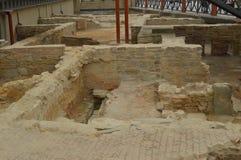 Roman Archaeological Remains In Astorga Arkitektur historia, Camino De Santiago, lopp, gatafotografi November 1, 2018 arkivbild