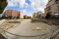 Roman archaeological site in Algeciras, Spain. ALGECIRAS, SPAIN - SEPTEMBER 28, 2016: The Marinid Walls of Algeciras Spanish: Parque Arqueológico de las stock image