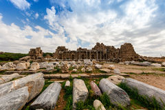 Roman archaeological site in Side. Stock Images