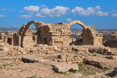 Roman arches in Pafos archaeological park in Kato Royalty Free Stock Photo