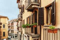 Roman Architecture in Italy. Closeup of a Roman house in Italian town Stock Photo