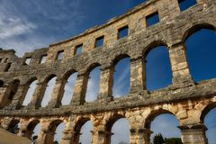 Roman Arena in den Pula Kroatien Stockbild