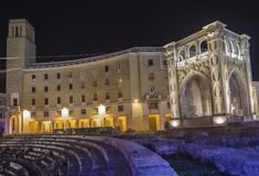 Roman arena lecce by night scene Stock Photos
