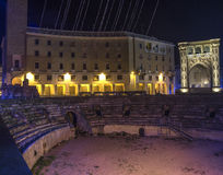 Roman arena lecce by night scene Royalty Free Stock Photography