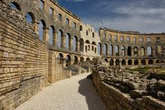 Roman Arena na Croácia dos Pula fotos de stock royalty free