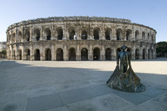 The roman arena. In Nimes, Languedoc-Roussillon regione, France Stock Photo