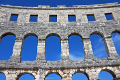 Roman arena, Pula, Croatia. Portion of the ancient arena (constructed 27 BC - 68 AD), one of the best preserved Roman amphitheaters in the world, Pula, Croatia Stock Images