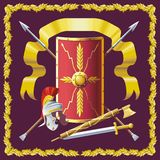 Roman armament. Background with Roman helmet, badge, sword and spears stock illustration