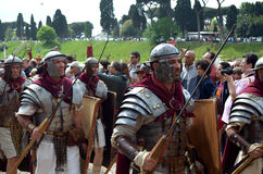 Roman army at ancient romans historical parade. For the birth of city of Rome 21st of april  at circus maximus in Romen Stock Photos