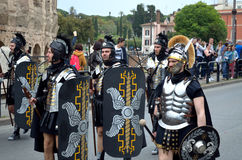 Roman army  near colosseum at ancient romans historical parade. Roman army near colosseum at ancient romans historical parade for the birth of city of Rome 21st Royalty Free Stock Photos