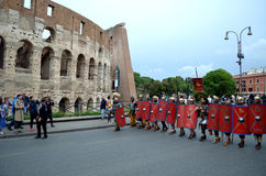 Roman army near colosseum at ancient romans historical parade Royalty Free Stock Photo