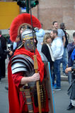 Roman army near colosseum at ancient romans historical parade Royalty Free Stock Image