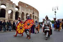 Roman army near colosseum at ancient romans historical parade Royalty Free Stock Images