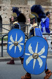 Roman army near colosseum at ancient romans historical parade Royalty Free Stock Photography
