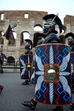 Roman army near colosseum at ancient romans historical parade. For the birth of city of Rome 21st of april  at circus maximus in Romen Royalty Free Stock Photos