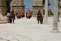 Roman army receration in a nativity scene stock image