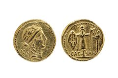 Roman Aureus Gold Coin replica of Julius Caesar. With a probable portrait of the goddess Venus and a Trophy of Gallic Arms on the reverse struck between 48-47 stock image