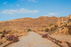 Roman avenue in nabatean city of  petra jordan Royalty Free Stock Photo