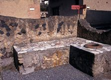 Roman bar ruin, Herculaneum, Italy. Royalty Free Stock Image