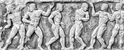 Roman Bas-relief and sculpture details in stone. Royalty Free Stock Images