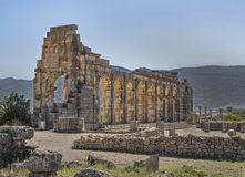Roman Basilica in Volubilis, Morocco stock images