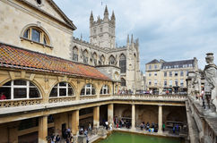 Roman Bath. In Bath, England; with Cathedral Stock Photos