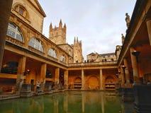 Roman Bath BAD, ENGLAND, UK royaltyfria foton